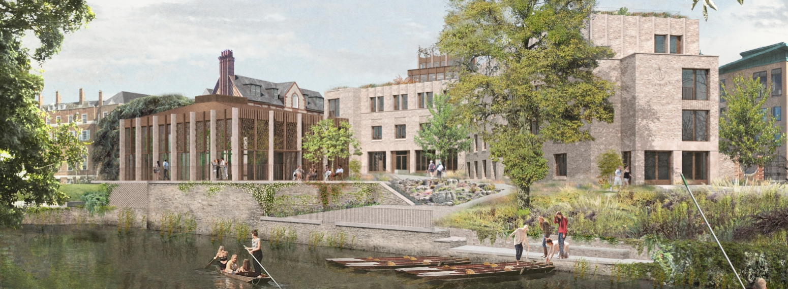 View of St Hilda's Riverside Pavillion and Boundary Building from the opposite river bank
