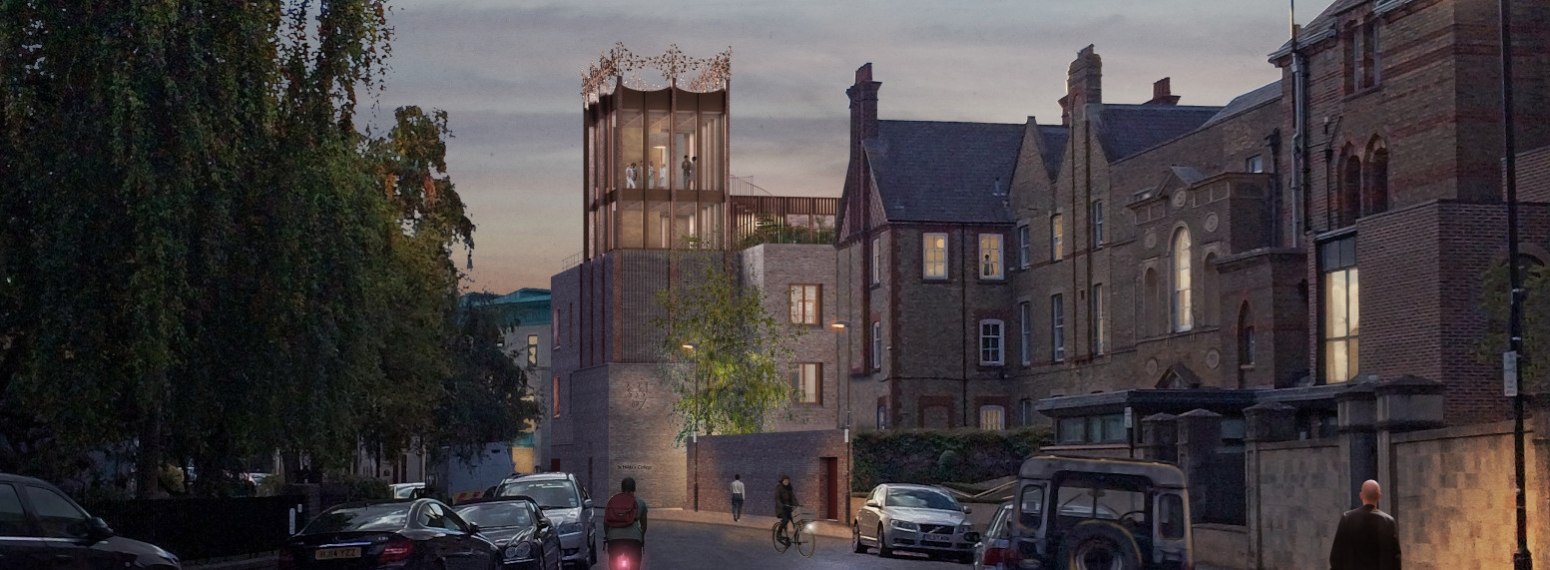 Approaching St Hilda's entrance and tower from Cowley Place - night-time view