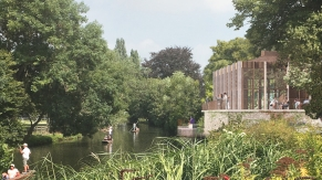 St Hilda's College - view of the Riverside Pavilion from the river bank